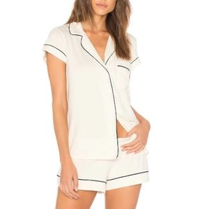EBERJEY Gisele Short PJs in Ivory with Navy Piping